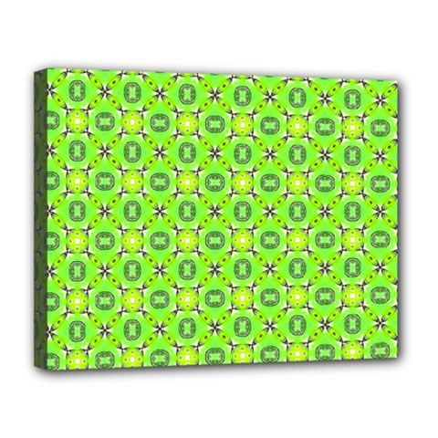 Vibrant Abstract Tropical Lime Foliage Lattice Canvas 14  X 11  by DianeClancy
