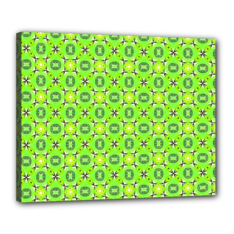 Vibrant Abstract Tropical Lime Foliage Lattice Canvas 20  X 16  by DianeClancy