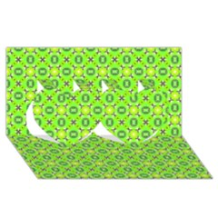Vibrant Abstract Tropical Lime Foliage Lattice Twin Hearts 3d Greeting Card (8x4)  by DianeClancy