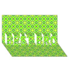 Vibrant Abstract Tropical Lime Foliage Lattice Best Bro 3d Greeting Card (8x4)  by DianeClancy