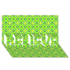 Vibrant Abstract Tropical Lime Foliage Lattice Believe 3d Greeting Card (8x4)