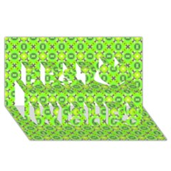 Vibrant Abstract Tropical Lime Foliage Lattice Best Wish 3d Greeting Card (8x4)  by DianeClancy
