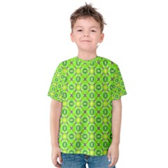 Vibrant Abstract Tropical Lime Foliage Lattice Kid s Cotton Tee