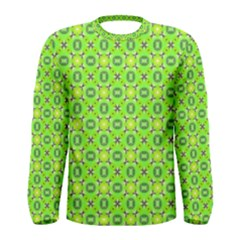 Vibrant Abstract Tropical Lime Foliage Lattice Men s Long Sleeve Tee by DianeClancy