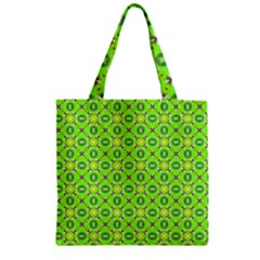 Vibrant Abstract Tropical Lime Foliage Lattice Zipper Grocery Tote Bag by DianeClancy