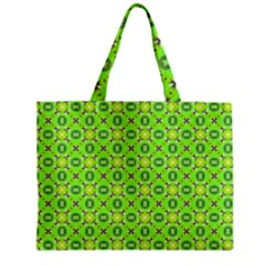 Vibrant Abstract Tropical Lime Foliage Lattice Zipper Mini Tote Bag by DianeClancy