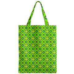 Vibrant Abstract Tropical Lime Foliage Lattice Zipper Classic Tote Bag by DianeClancy