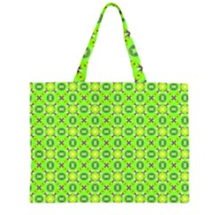 Vibrant Abstract Tropical Lime Foliage Lattice Zipper Large Tote Bag by DianeClancy