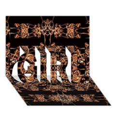 Dark Ornate Abstract  Pattern Girl 3d Greeting Card (7x5)