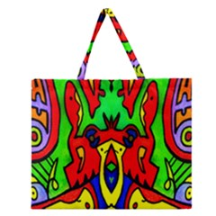 Heads Up Zipper Large Tote Bag by MRTACPANS