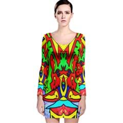 Heads Up Long Sleeve Velvet Bodycon Dress