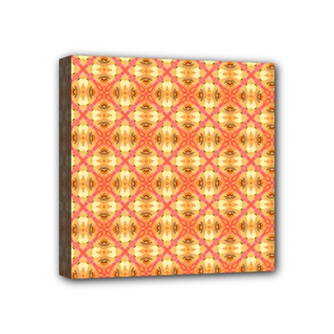 Peach Pineapple Abstract Circles Arches Mini Canvas 4  X 4  by DianeClancy