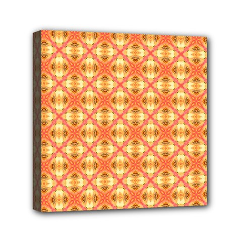 Peach Pineapple Abstract Circles Arches Mini Canvas 6  X 6  by DianeClancy