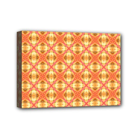 Peach Pineapple Abstract Circles Arches Mini Canvas 7  X 5  by DianeClancy