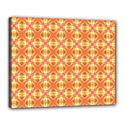 Peach Pineapple Abstract Circles Arches Canvas 20  X 16  by DianeClancy