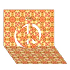 Peach Pineapple Abstract Circles Arches Peace Sign 3d Greeting Card (7x5)  by DianeClancy