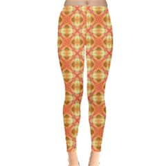 Peach Pineapple Abstract Circles Arches Leggings  by DianeClancy