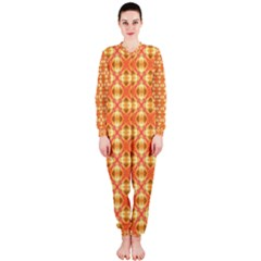 Peach Pineapple Abstract Circles Arches Onepiece Jumpsuit (ladies)  by DianeClancy