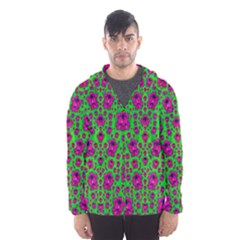 Fantasy Valentine In Floral Love And Peace Time Hooded Wind Breaker (Men) by pepitasart