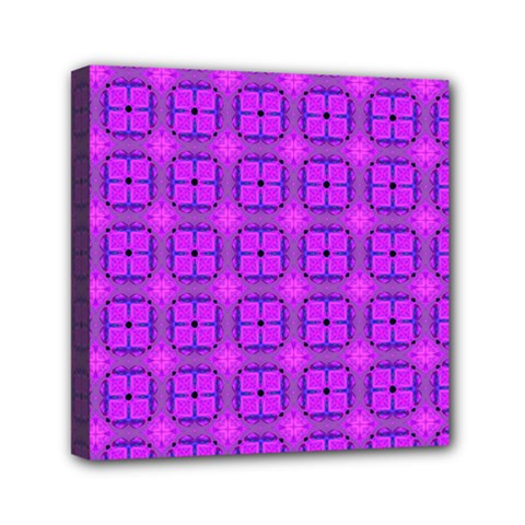 Abstract Dancing Diamonds Purple Violet Mini Canvas 6  X 6  by DianeClancy