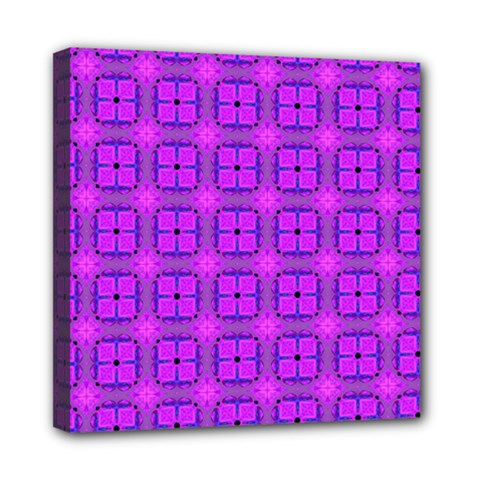 Abstract Dancing Diamonds Purple Violet Mini Canvas 8  X 8  by DianeClancy