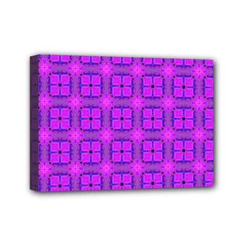 Abstract Dancing Diamonds Purple Violet Mini Canvas 7  X 5  by DianeClancy