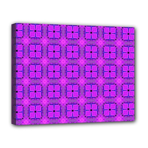 Abstract Dancing Diamonds Purple Violet Canvas 14  X 11  by DianeClancy