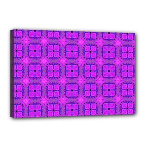 Abstract Dancing Diamonds Purple Violet Canvas 18  X 12  by DianeClancy