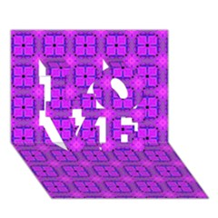 Abstract Dancing Diamonds Purple Violet Love 3d Greeting Card (7x5)  by DianeClancy
