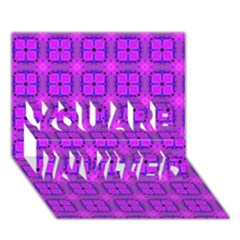 Abstract Dancing Diamonds Purple Violet You Are Invited 3d Greeting Card (7x5)  by DianeClancy