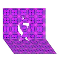Abstract Dancing Diamonds Purple Violet Ribbon 3d Greeting Card (7x5)  by DianeClancy