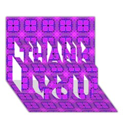 Abstract Dancing Diamonds Purple Violet Thank You 3d Greeting Card (7x5)