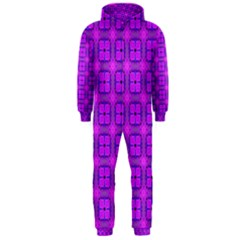 Abstract Dancing Diamonds Purple Violet Hooded Jumpsuit (men)  by DianeClancy