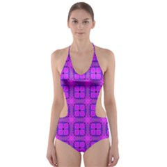 Abstract Dancing Diamonds Purple Violet Cut Out One Piece Swimsuit by DianeClancy