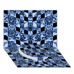 Indigo Check Ornate Print Circle Bottom 3d Greeting Card (7x5)  by dflcprints
