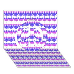 Floral Stripes Pattern Peace Sign 3d Greeting Card (7x5)