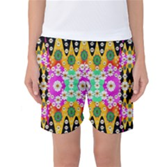 Flowers Above And Under The Peaceful Sky Women s Basketball Shorts by pepitasart