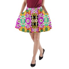 Flowers Above And Under The Peaceful Sky A-Line Pocket Skirt