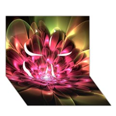Red Peony Clover 3d Greeting Card (7x5)