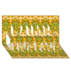 Boho Stylized Floral Stripes Laugh Live Love 3d Greeting Card (8x4)  by dflcprints