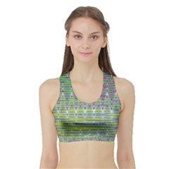 Colorful Zigzag Pattern Women s Sports Bra With Border