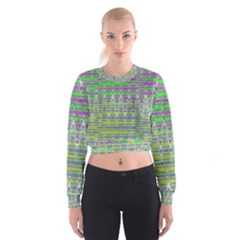 Colorful Zigzag Pattern Women s Cropped Sweatshirt by BrightVibesDesign