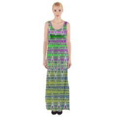 Colorful Zigzag Pattern Maxi Thigh Split Dress by BrightVibesDesign