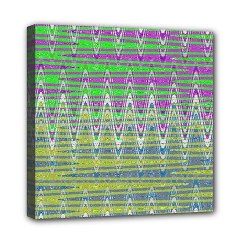 Colorful Zigzag Pattern Mini Canvas 8  X 8  by BrightVibesDesign