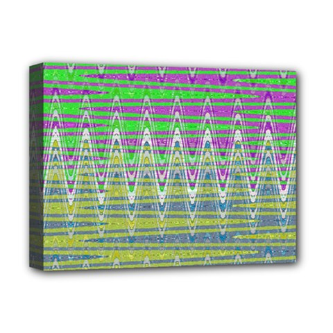 Colorful Zigzag Pattern Deluxe Canvas 16  X 12   by BrightVibesDesign