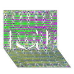 Colorful Zigzag Pattern I Love You 3d Greeting Card (7x5)  by BrightVibesDesign