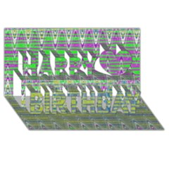 Colorful Zigzag Pattern Happy Birthday 3d Greeting Card (8x4)  by BrightVibesDesign