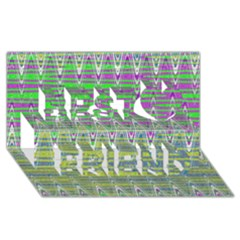 Colorful Zigzag Pattern Best Friends 3D Greeting Card (8x4)  by BrightVibesDesign