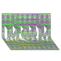 Colorful Zigzag Pattern Mom 3d Greeting Card (8x4)  by BrightVibesDesign