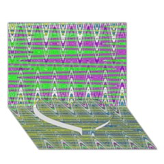Colorful Zigzag Pattern Heart Bottom 3d Greeting Card (7x5)  by BrightVibesDesign